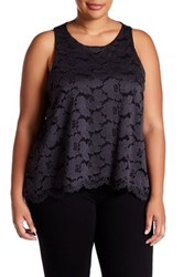 14Th And Union Lace Swing Tank Plus Size Gray