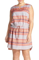 Plus Size Women's Caslon Drawstring Waist Stripe Cotton Dress