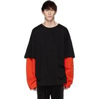 Juun.J Ssense Exclusive Black And Orange Layered Long Sleeve T Shirt