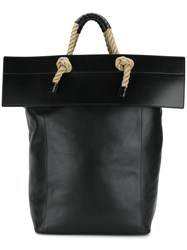 Ports 1961 Rope Handles Tote Cotton Linen Flax Leather Black