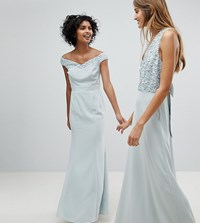 Maya Bardot Sequin Detail Maxi Dress With Bow Back Detail Ice Blue