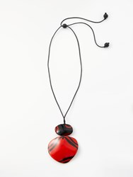 One Button Large Reversible Cord Pendant Necklace Red Black