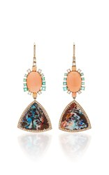 Nina Runsdorf M'o Exclusive One Of A Kind Yahwah Opal And Coral Earrings Pink