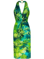 Versace Jungle Signature Print Halterneck Dress Green