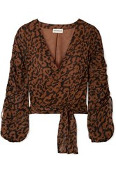Nicholas Ruched Leopard Print Silk Chiffon Wrap Top Brown