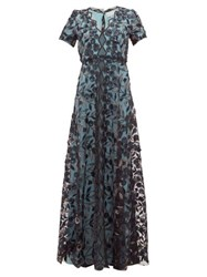 Luisa Beccaria Floral Embroidered Tulle Gown Black Multi