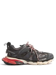 Balenciaga Track Leather And Mesh Low Top Trainers Black