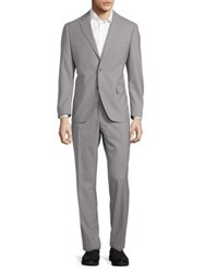 Black Brown Two Piece Wool Suit Gray