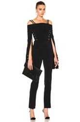 David Koma Oversized Loops And Metal Balls Cropped Jumpsuit In Black