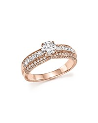 Bloomingdale's Diamond Round And Baguette Center Ring In 14K Rose Gold 1.0 Ct. T.W. 100 Exclusive White Rose