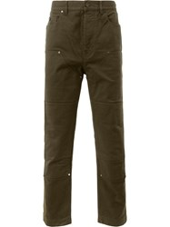 Lanvin Panelled Denim Trousers Green
