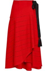 Amanda Wakeley Tasseled Laser Cut Wool Blend Midi Wrap Skirt Red