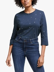 John Lewis Collection Weekend By Foil Flower Top Navy Silver