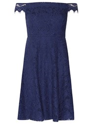 Dorothy Perkins Petite Navy Lace Bardot Prom Dress Blue