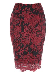 Jane Norman Scalloped Lace Pencil Co Ord Skirt Berry