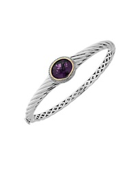 Lord And Taylor Amethyst Diamond Sterling Silver And 14K Yellow Gold Bracelet Purple