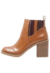 Evenandodd High Heeled Ankle Boots Cognac