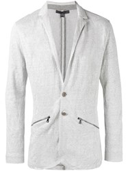 John Varvatos Zip Detail Knitted Blazer Grey