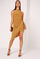 Missguided Slinky High Neck Drape Bodycon Dress Yellow Yellow