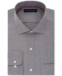 Tommy Hilfiger Men's Classic Fit Non Iron Gray Solid Dress Shirt Slate
