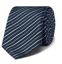 Boss 6Cm Striped Silk Twill Tie Navy