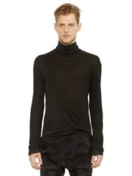 Balmain Micro Ribbed Jersey Turtleneck T Shirt