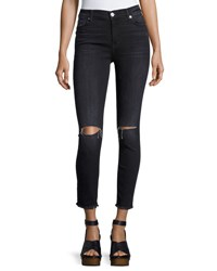 7 For All Mankind High Waist Ankle Skinny Jeans Dark Gray