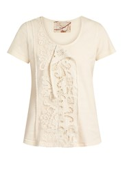 By Walid Jodie Lace Insert Cotton T Shirt Nude