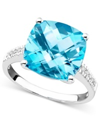 Macy's 14K White Gold Ring Blue Topaz 7 3 4 Ct. T.W. And Diamond Accent Ring