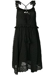 Semicouture Embroidered Sleeveless Dress Black