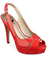 G By Guess Women's Cathy Slingback Platform Pumps Women's Shoes Poppy Patent