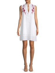 Saks Fifth Avenue Red Embroidered Cotton Shift Dress White Red