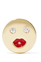Alison Lou Mwa Enameled 14 Karat Gold Diamond Earring