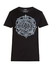 Balmain Medal Print Crew Neck Cotton T Shirt Black