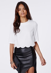 Missguided Crepe Scalloped Hemline Crop Top White