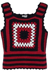 Miu Miu Crocheted Cashmere Top Red