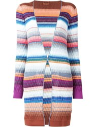 Missoni Knit Pattern Striped Cardigan Grey