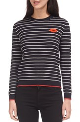 Whistles Kiss Embroidered Stripe Sweater Multicolor