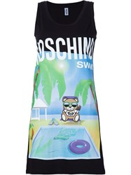 Moschino Swim Bear Logo Printed Beach Dress Black