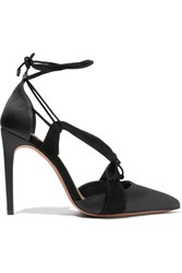 Alexandre Birman Rosita Satin And Suede Pumps Black