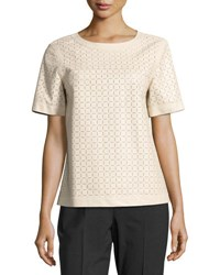 Lafayette 148 New York Rylan Zip Back Laser Cut Leather Blouse White