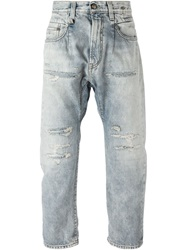 R 13 R13 Cropped Distressed Jeans Blue
