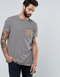 Asos Longline Stripe T Shirt With Distressing And Faux Suede Pocket White Black Multi
