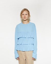 Marni Tiered Ruffle Blouse Powder Blue