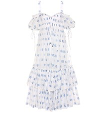 Alexander Mcqueen Printed Off The Shoulder Cotton Dress White