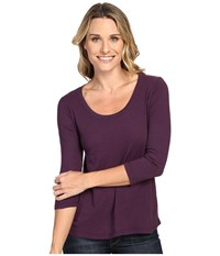 Mod O Doc Slub Jersey 3 4 Sleeve Scoopneck Tee Aubergine Women's Long Sleeve Pullover Purple