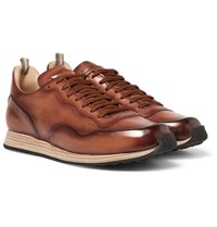 Officine Creative Keino Polished Leather Sneakers Tan