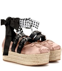 Miu Miu Satin And Leather Platform Ballerinas Pink