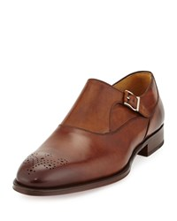 Magnanni Monk Strap Perforated Leather Loafer Tobacco Black