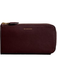 Burberry Two Tone Leather Ziparound Wallet And Coin Case Red